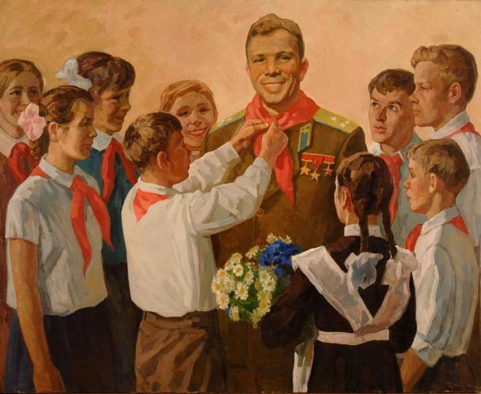 Дарьин Геннадий Александрович (1922 - 2012) - Гагарин в гостях у пионеров (1965) (700x573, 390Kb)