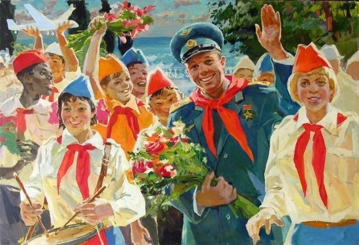 Овчаров Виктор Петрович (1928 - 1995) - Гагарин и пионеры. (700x477, 423Kb)