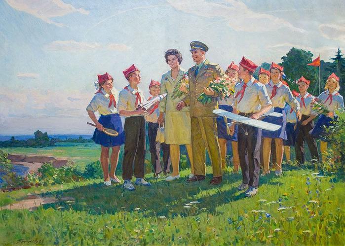 Петухов Василий Афанасьевич (1914 -1980) - Космонавты В.В. Терешкова, Ю.А.Гагарин и пионеры. 1977 (700x499, 465Kb)
