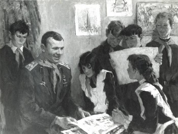 Суворова А.П. «Гагарин с детьми», 1973, жанр, холст, масло, 11 (700x528, 225Kb)