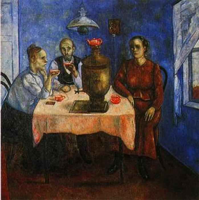 1918-1919 Семья за столом. Чаепитие (Нижегородский ХМ) (699x700, 137Kb)