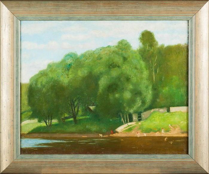 1920-1929 Пейзаж с купальщицами. 35,5 х 44 см. (Аукцион) (700x582, 139Kb)