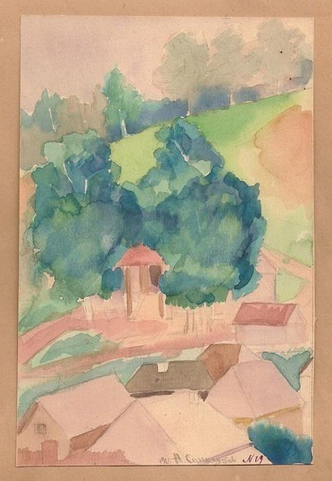1927 Cолнечный день. Бум,  акварель (483x700, 254Kb)