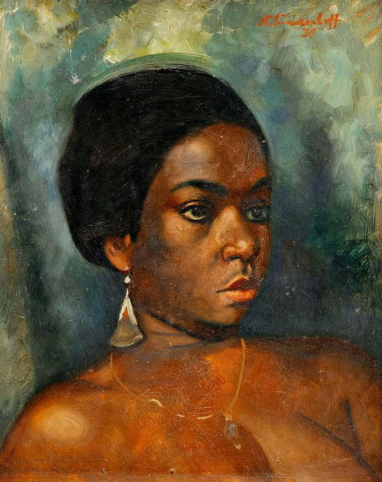 1931 Портрет африканской девушки с золотой сережкой. К, м. 40х33 см. ЧС (555x700, 174Kb)