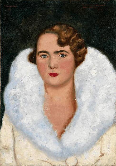 1934 Портрет дамы. (Женский портрет). Холст, масло. 46х32,5 см. Частное собрание. (488x700, 126Kb)