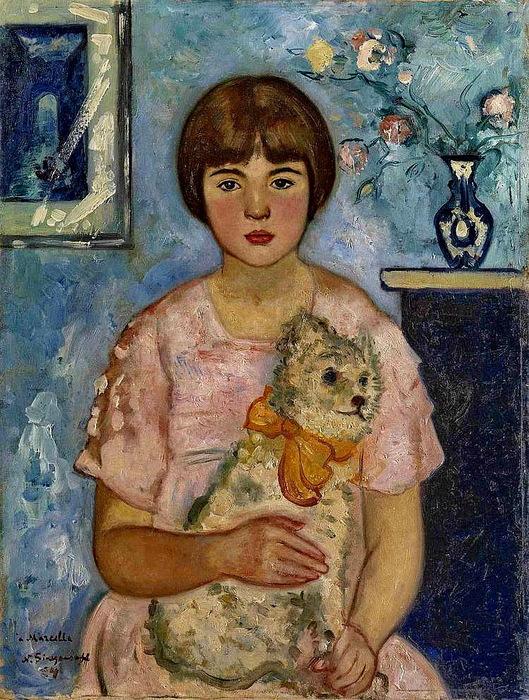 1934 Девочка с плюшевым медвежонком. Х, м. 61х46,5 см. Аукцион MacDougall's, 2011 (529x700, 212Kb)
