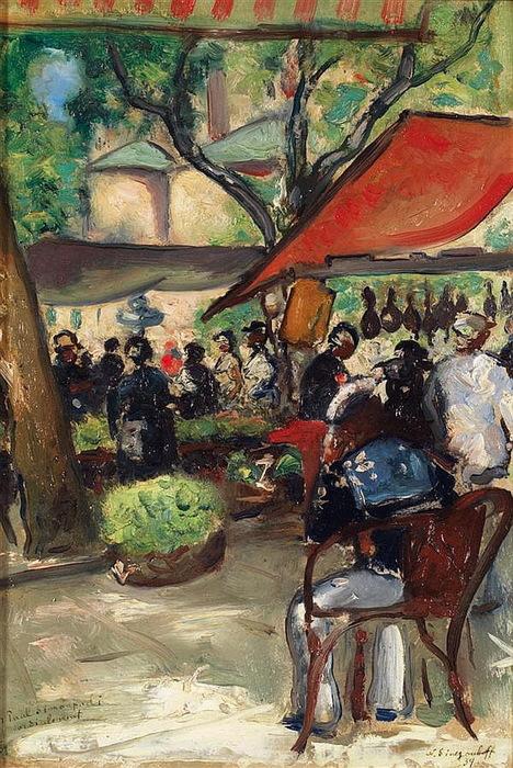 1934 Парижское кафе (Place de marché EN CORSE) К, м. (панель) 34,5 x 29 cm (468x700, 184Kb)