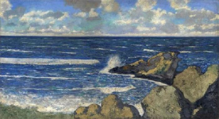 1935 Морской пейзаж (Побережье). Х, м. 54,7х100,3 см. (700x379, 40Kb)