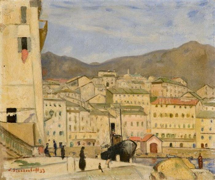 1933 Вид на Вильфранш-сюр-Мер. Франция. Х, м. 32,5х38 см. ЧС (700x586, 136Kb)