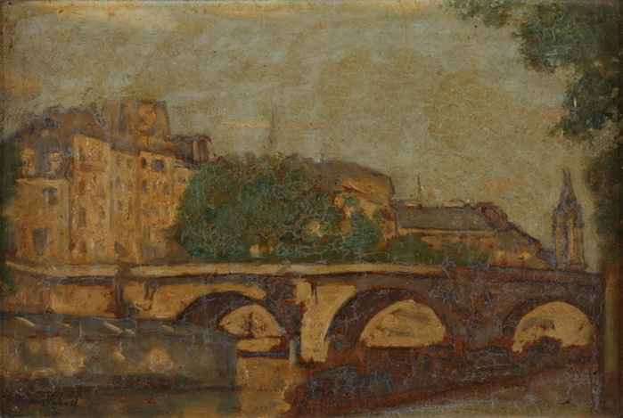 1937 Мост Понт-Неф в Париже. К, м. 23х33 см. ЧС (700x469, 112Kb)