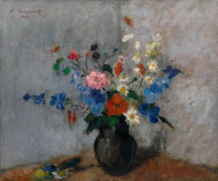 1939 Натюрморт с цветами. Х, м. 51х60,5 см. (700x581, 123Kb)