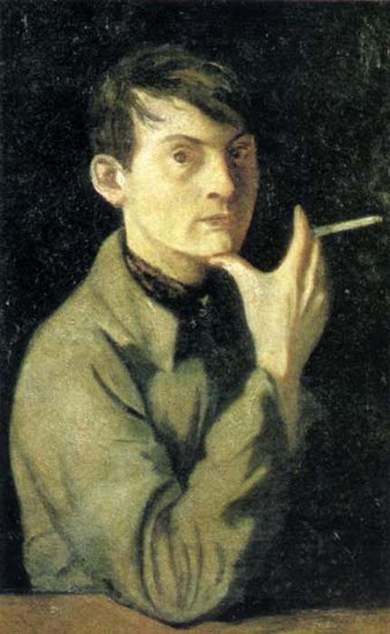 1947  Автопортрет. 1947 г. Холст, масло. 71х43 см. Государственная Третьяковская галерея. (430x700, 87Kb)