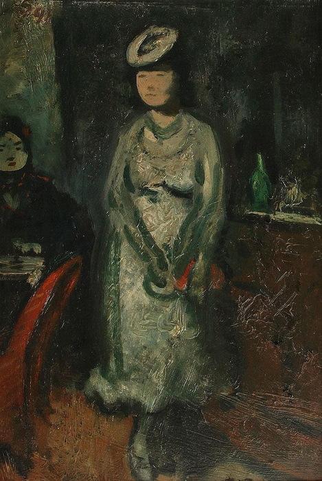 1945 Молодая девушка в баре. oil on panel, 34.7 x 23.8 cm. ЧС (469x700, 145Kb)