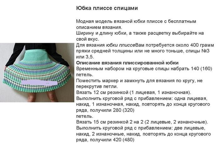 схема плиссе вязаная юбка