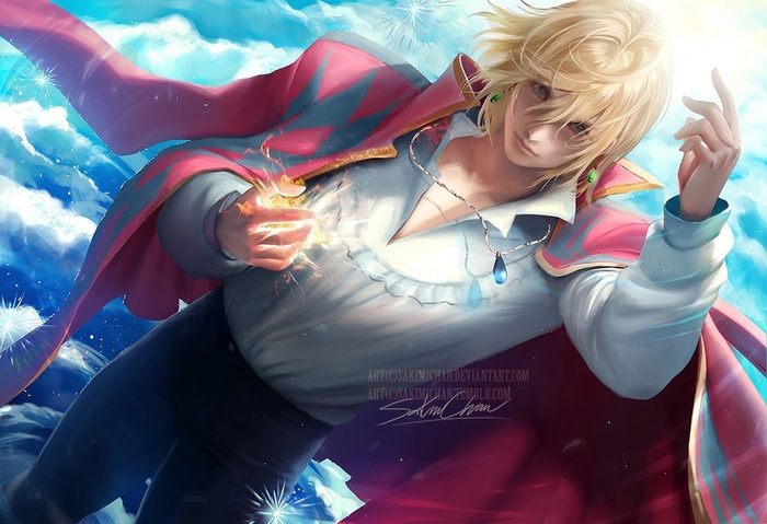 Konachan.com - 235705 all_male aqua_eyes blonde_hair clouds howl howl's_moving_castle magic male necklace realistic sakimichan short_hair signed sky waifu2x watermark (700x479, 109Kb)