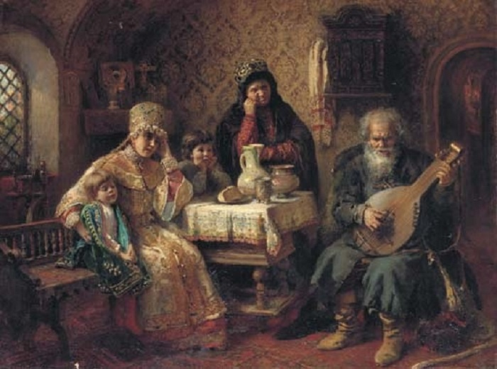 Russian interior with a bandura player , 1888 (700x520, 105Kb)