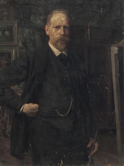 Karl Rudolf Sohn self-portrait (1894) in his studio (400x532, 77Kb)