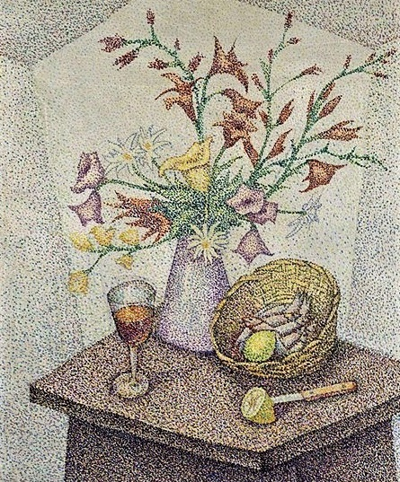 Still life with fruits and flowers (445x537, 352Kb)