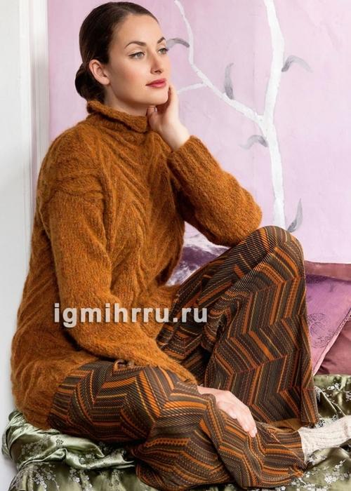 Золотисто-коричневый свитер с узором «косы»