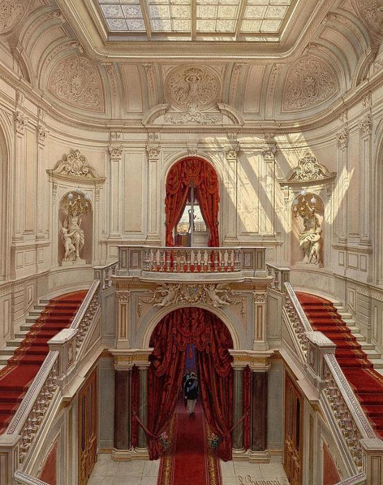 Premazzi._Mansion_of_Baron_Stieglitz._Main_Staircase_(2)._1871 (553x700, 498Kb)