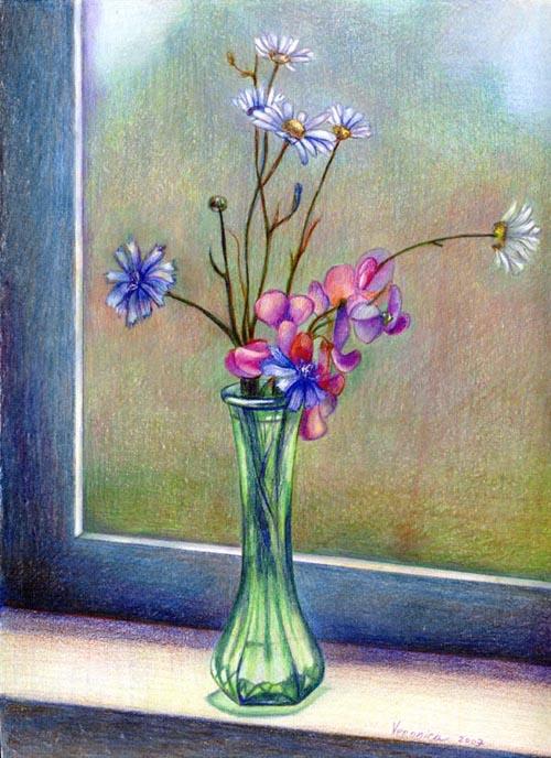 любава картинка ваза с цветами художника цветными карандашами очень