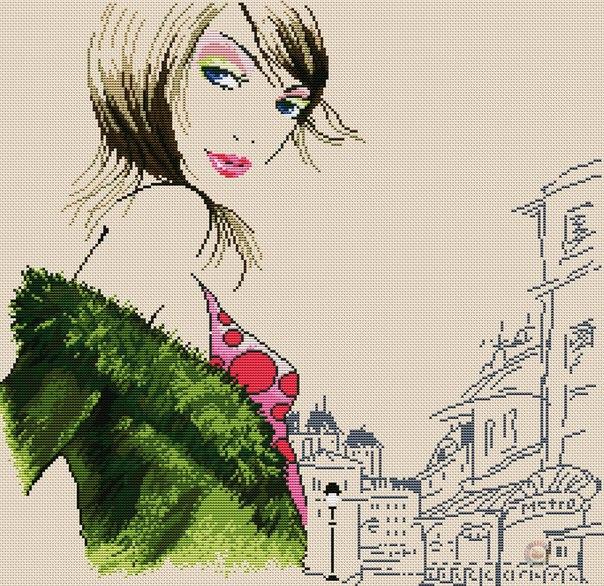 Вышивка «Парижанка». Схема