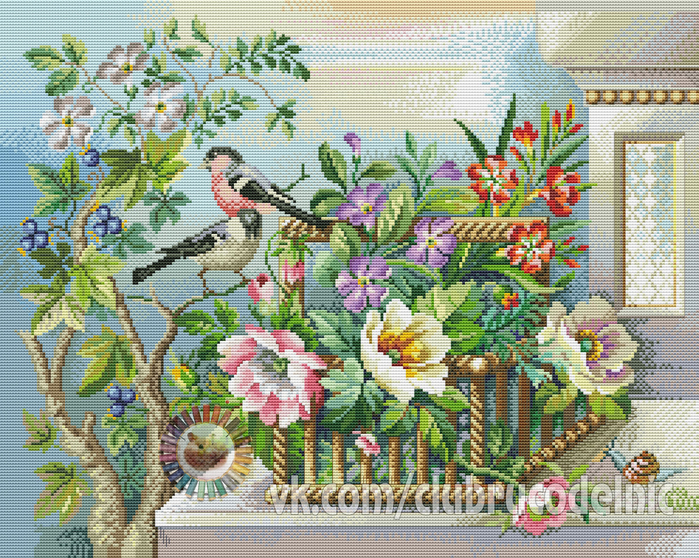 Flower basket and Birds (700x558, 698Kb)