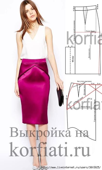 d90a1b09fcc42f0 Дизайнерская юбка карандаш со шлицей – шьем по выкройке!. Обсуждение ...