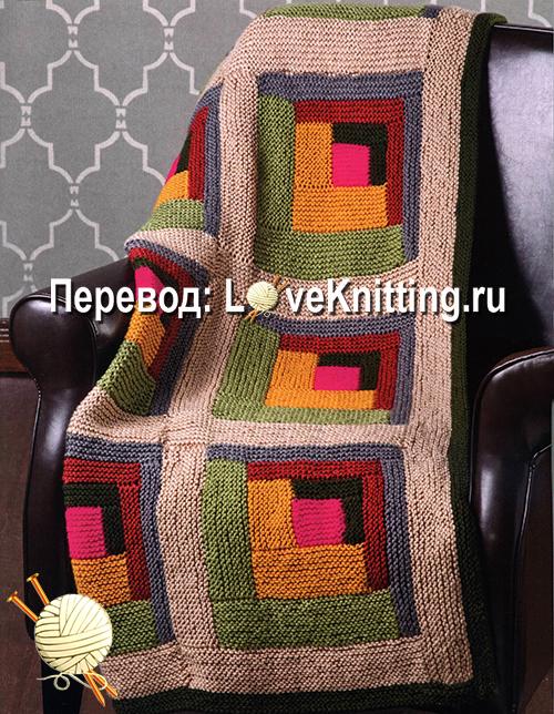 плед в технике лоскутного вязания от дизайнера Amy Gunderson