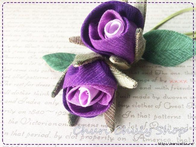 Как сделать розу из ткани своими руками схема 78