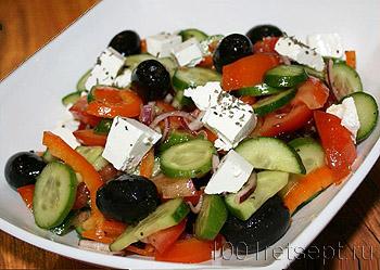 Салаты овощные с маслинами
