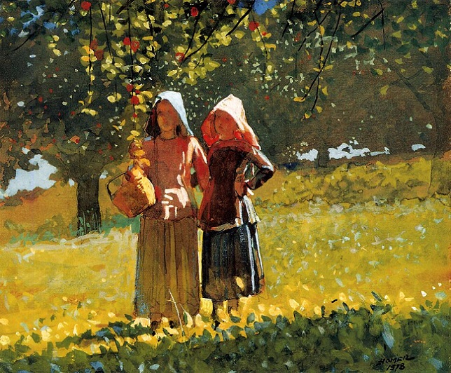 Apple Picking, 1878 аква (644x532, 534Kb)