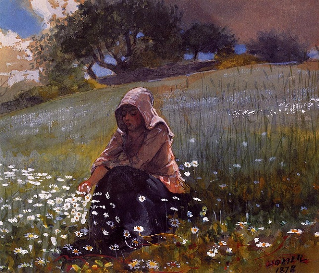 Girl and Daisies, 1878 (644x550, 486Kb)