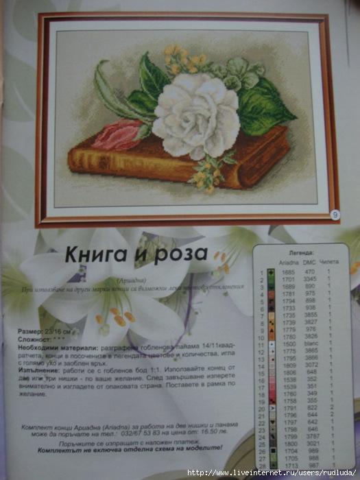 Книга и роза. Схема вышивки крестом. Обсуждение на liveinternet.