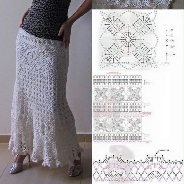 Вязаные юбки крючком фото и схемы