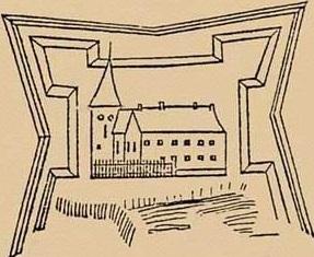 Отукреплений вокруг замка Ливонского ордена,где когда-то было поселение вендов в устье реки Венты,остался только рисунок.
