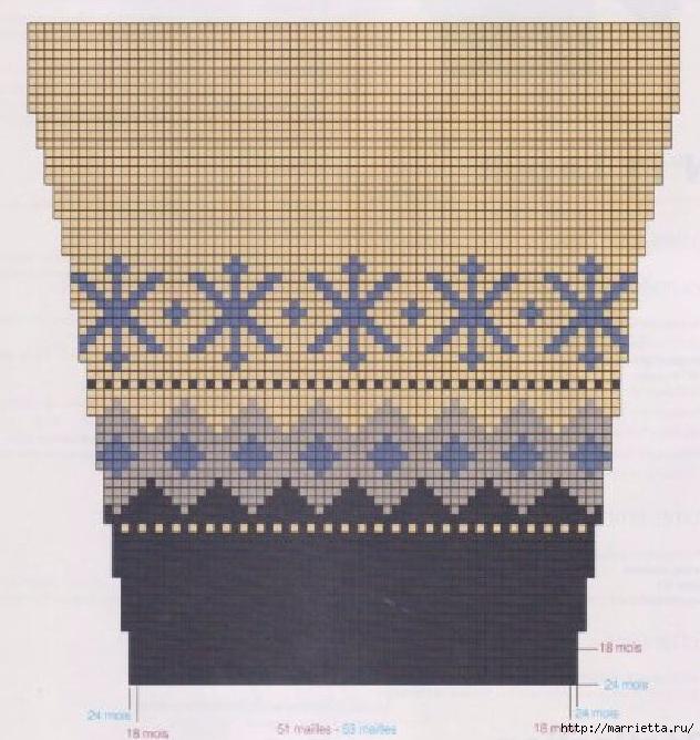 Жакет с оленями вяжем спицами малышу. Схемы (3) (632x668, 271Kb)