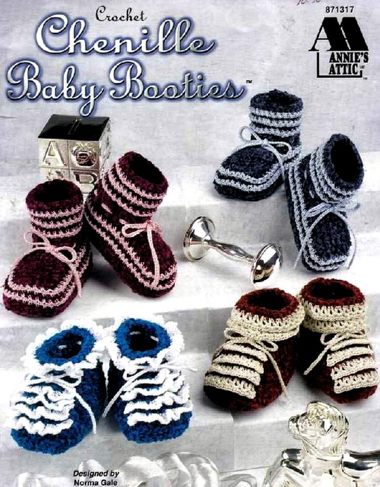 AA Chenille Baby Booties (546x700, 141Kb)