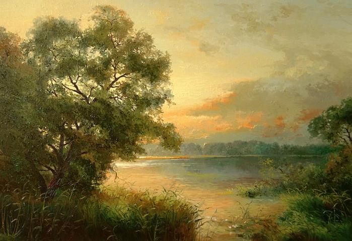 Латвийский художник-пейзажист Jan Bartkevics (Ян Барткевич ... Осеннее Утро В Городе