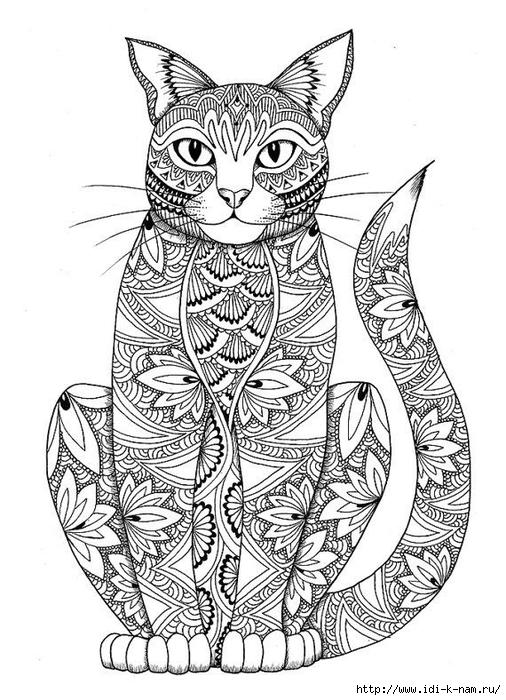 раскраски для взрослых: кошки. Обсуждение на LiveInternet ...