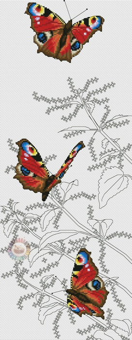 Peacock Butterflies (273x700, 212Kb)