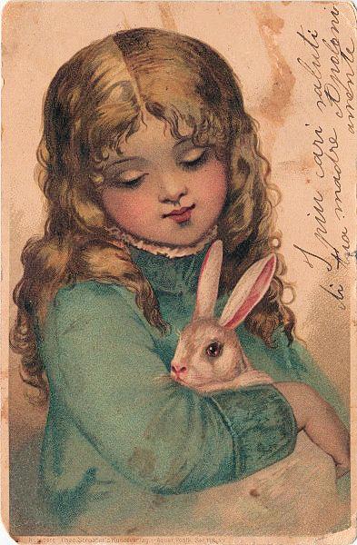 Открытка девочка с зайчиком, девушке днем рождения