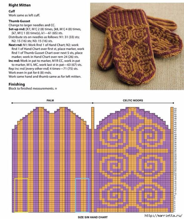 Варежки спицами жаккардовым узором (5) (588x700, 346Kb)