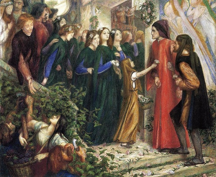 Dante_Gabriel_Rossetti_-_Beatrice_Meeting_Dante_at_a_Marriage_Feast,_Denies_Him_Her_Salutation (700x573, 234Kb)