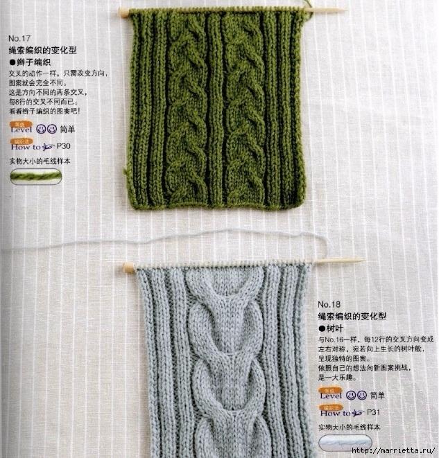 Вяжем спицами мужской шарф с косами (3) (633x661, 378Kb)