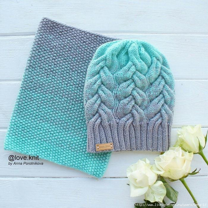 шапка с градиентом спицами схема