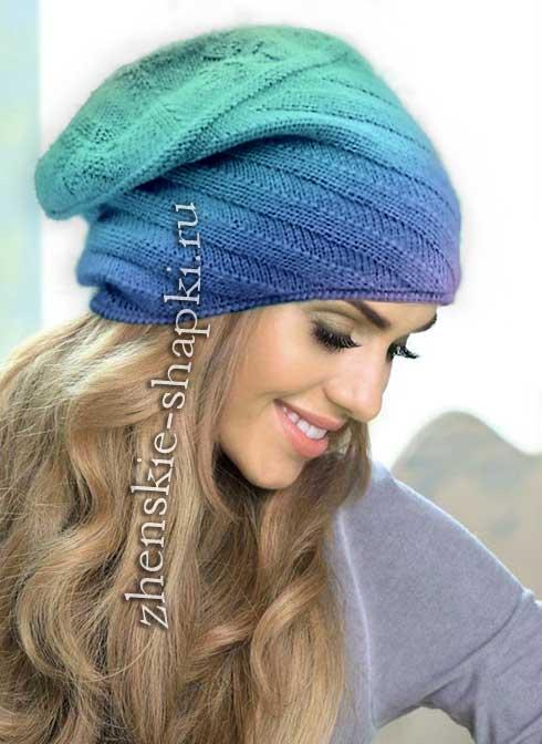 вязание шапки из крупной пряжи спицами