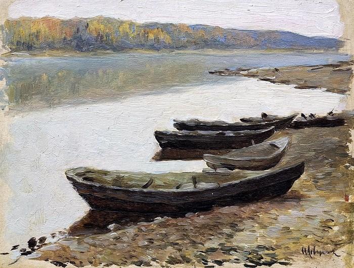 Волжский пейзаж. Лодки у берега. Этюд для картины 1878 (700x530, 166Kb)