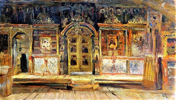 Внутри Петропавловской церкви в Плёсе, на Волге 1888 (700x399, 151Kb)