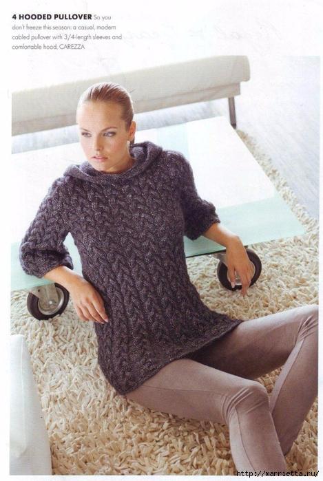 Удлиненный пуловер косами спицами (3) (469x700, 268Kb)